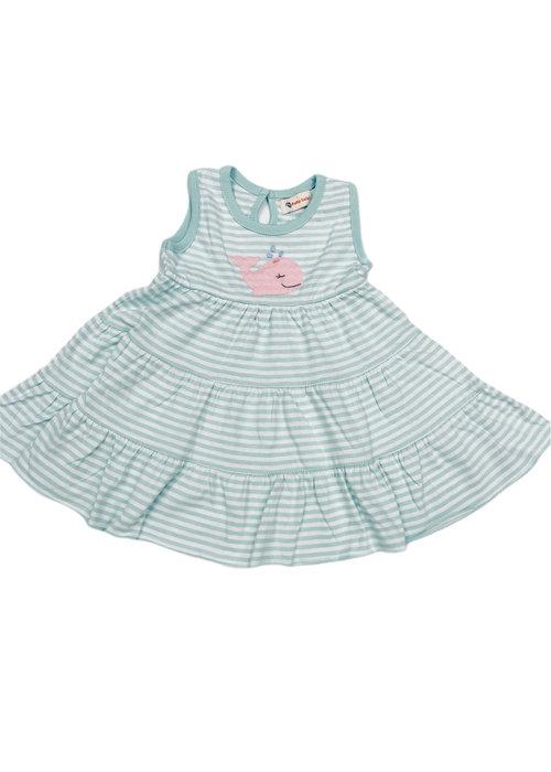 Baby Luigi Sleveless Tiered Dress Jade/Wht Str w/Pk Whale