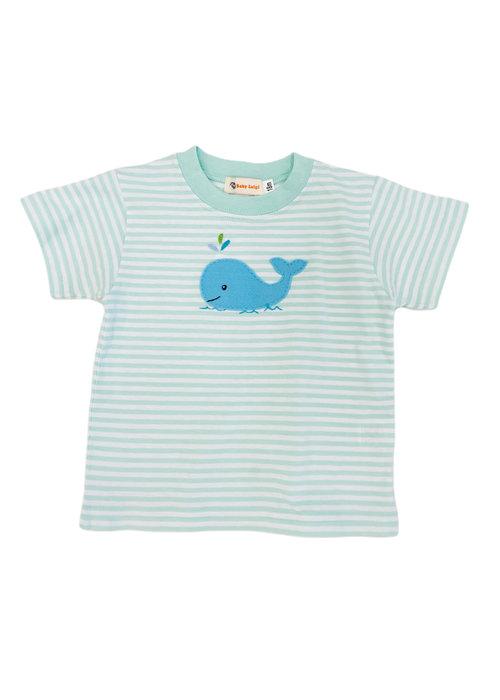 Baby Luigi Boy Tee Jade/White Stripe w/Blue Whale