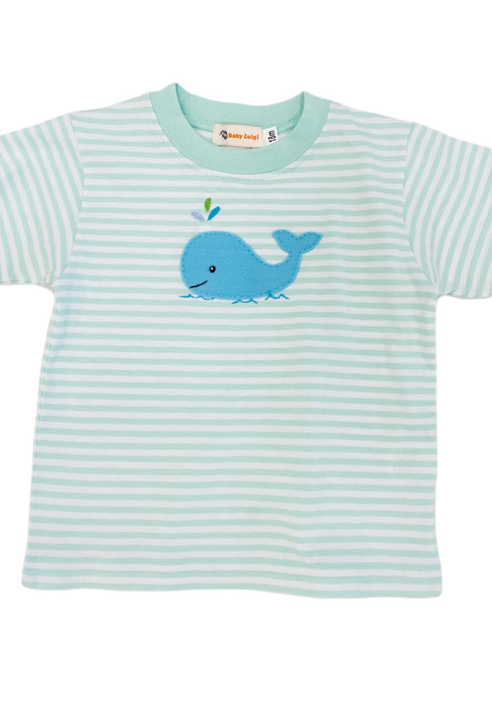 Boy Tee Jade/White Stripe w/Blue Whale