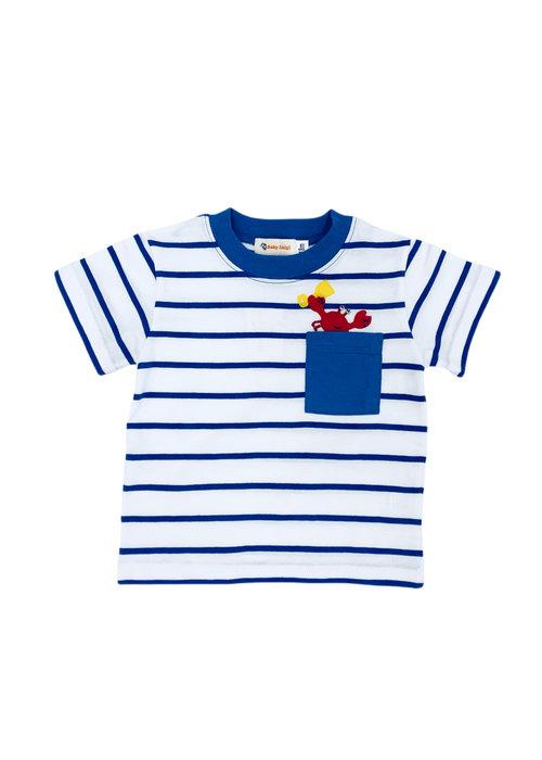Baby Luigi Boy Tee Royal/White  Stripe Crab with Shovel