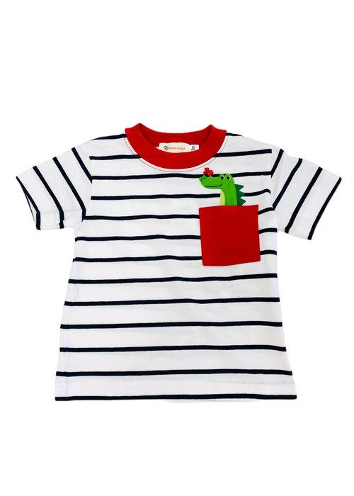 Baby Luigi Boy Tee Navy/White Stripe Gator Pocket