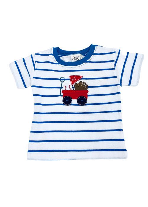Baby Luigi Boy Tee Blue & Wht Stripe Wagon/Baseball