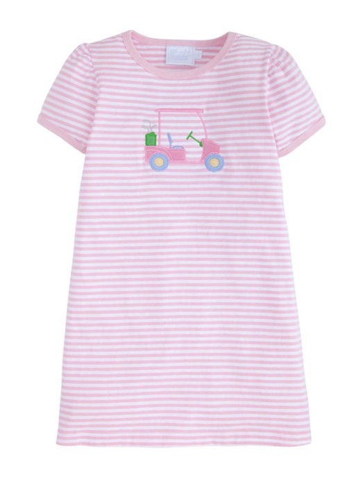 Little English LE Applique T-shirt Dress - Golf Cart Lt Pk Str