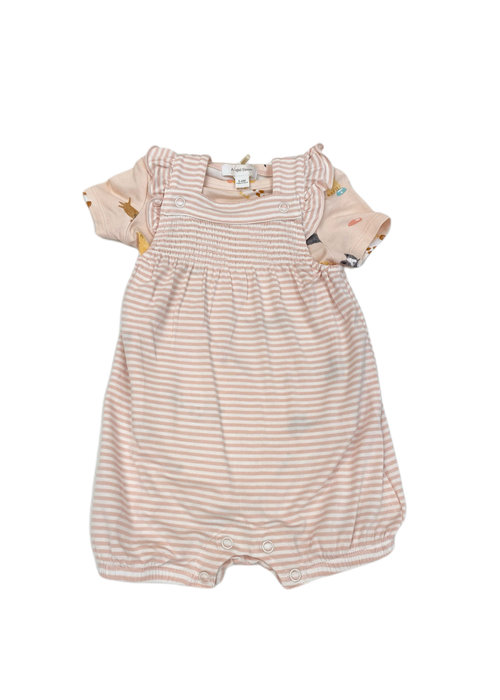 Angel Dear AD Puppy Play (Stripe) Smocked Front Overall Shortie in Pink