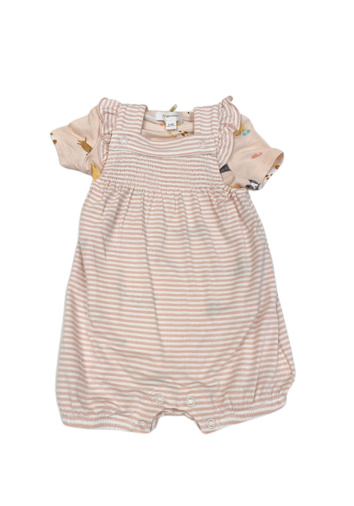 AD Puppy Play (Stripe) Smocked Front Overall Shortie in Pink