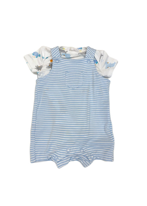 Angel Dear AD Puppy Play Overall Shortie in Blue