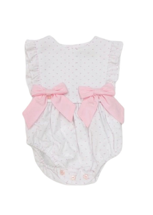 Sophie & Lucas S&L Dot Girl Overall Wht/Pink