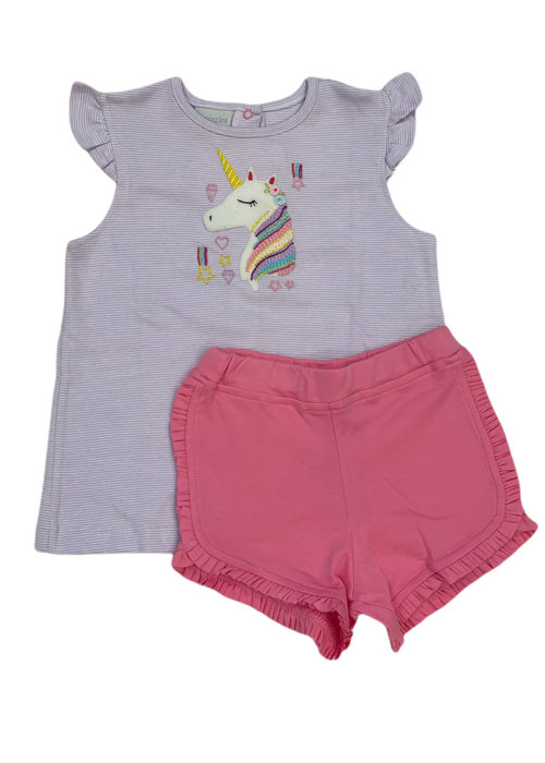 Squiggles Rainbow Unicorn Lt. Purp Str Top/Pk Short Set