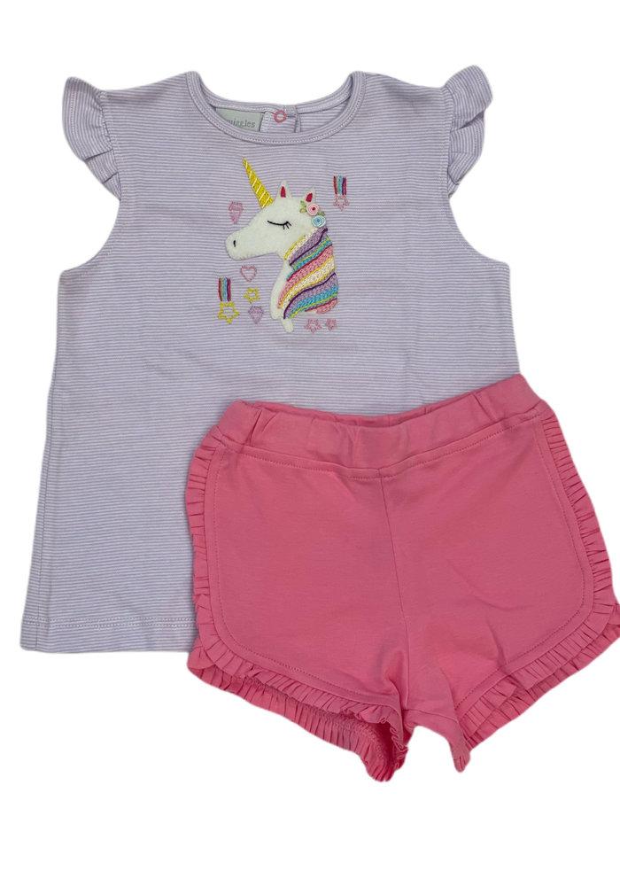 Squiggles Rainbow Unicorn Lt. Purp Str Top/Pk Short Set