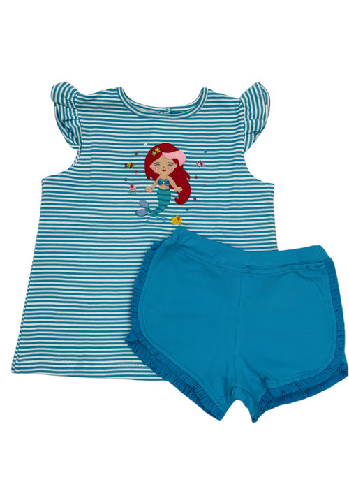 Squiggles Ariel Teal Stripe Tee & Shorts Set