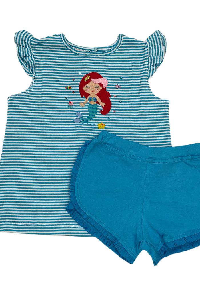 Squiggles Ariel Teal Stripe Tee & Shorts Set