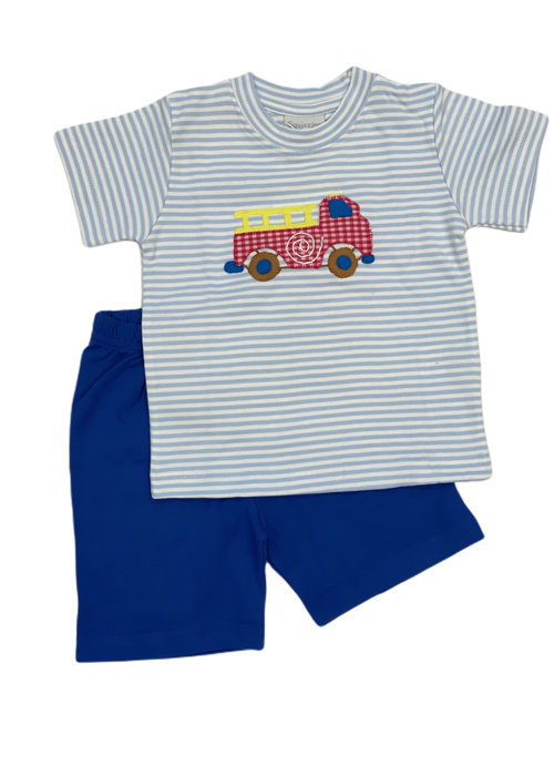 Squiggles Fire Truck w/Checks Set Lt Blue StrTop & Blue Shorts