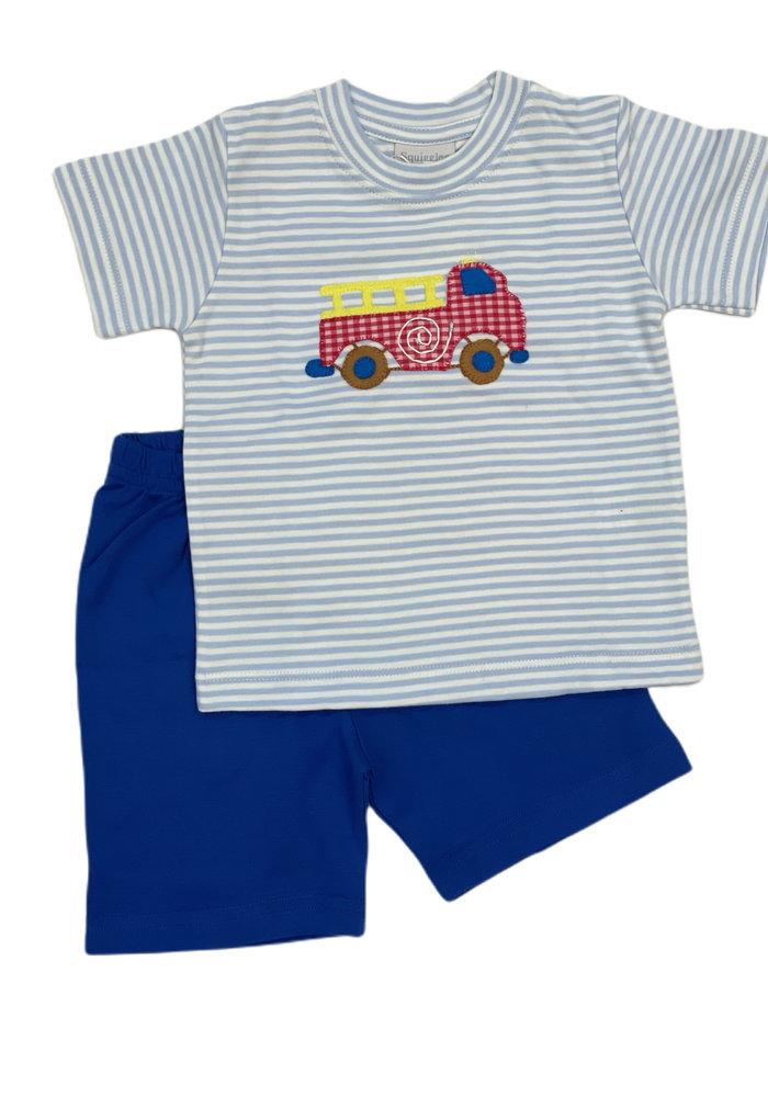 Squiggles Fire Truck w/Checks Set Lt Blue StrTop & Blue Shorts