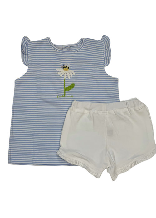 Squiggles Daisy & Bee Lt Blue Str Top/Wht Short Set