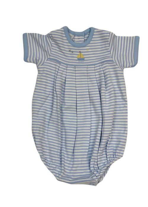 Squiggles Sailboat Pleated Romper Lt Blue Str