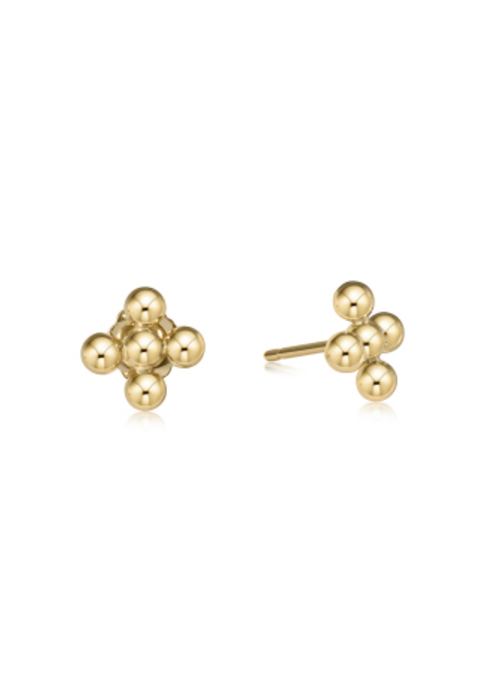 E Newton EN Classic Beaded Signature Cross Stud 3mm Gold