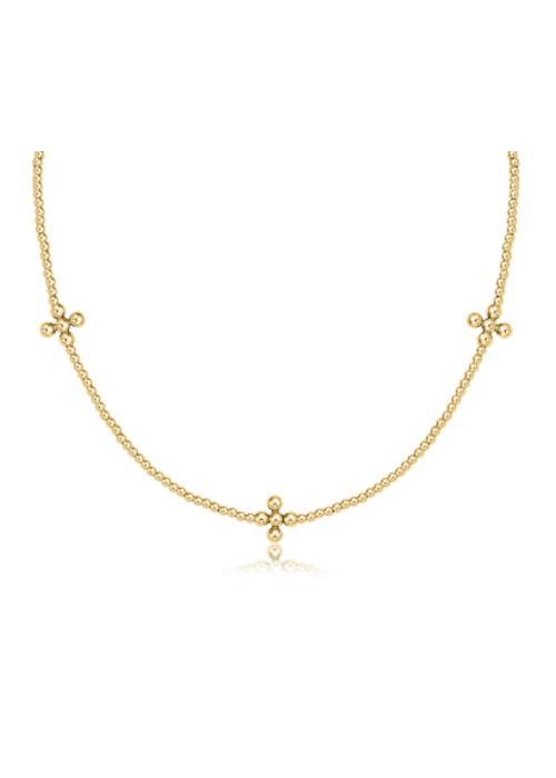 "E Newton EN 15"" Choker Signature Cross Gold Pattern 2mm Bead Gold Cross 3mm"