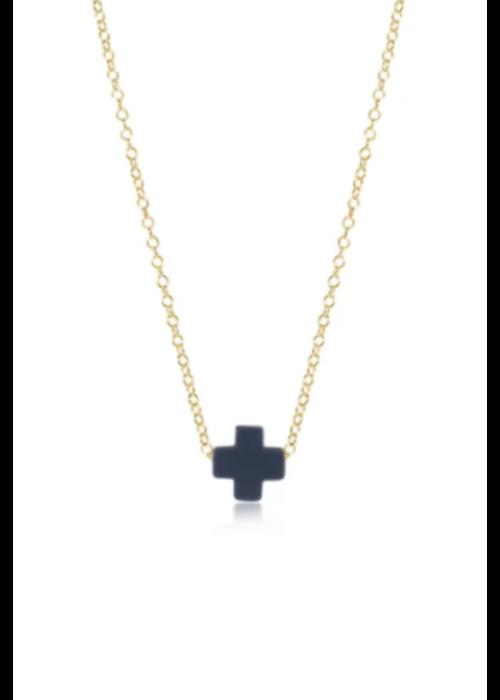 """E Newton EN 16"""" Necklace Gold Signature Cross Navy"""