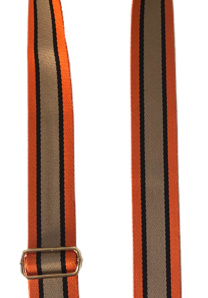 Ahdorned Orange/Black/Khaki Vertical Stripe Bag Strap
