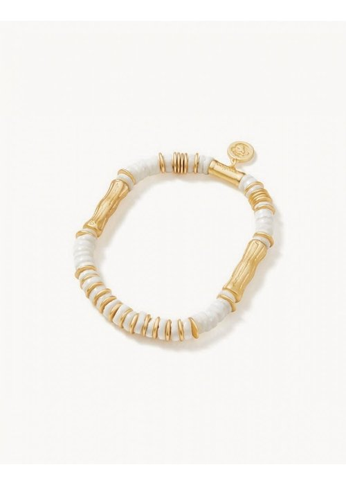 Spartina Bamboo Shell Stretch Bracelet White