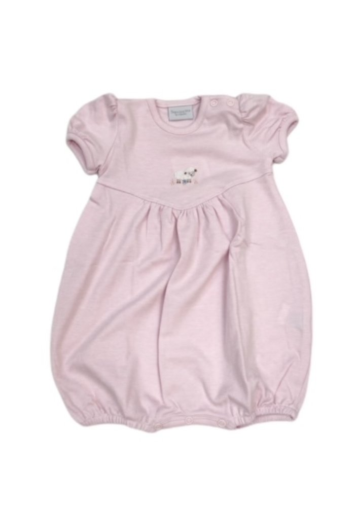 Squiggles White Lamb Bubble in Pink Stripe