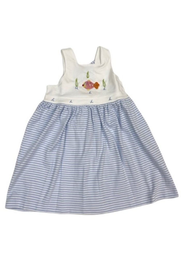 Squiggles Blue and White Stripe Dress w/Fish Sleeveless