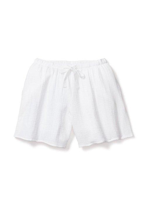 Petite Plume White Gauze Drawstring Shorts