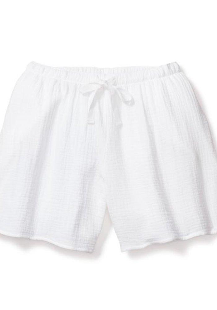 White Gauze Drawstring Shorts