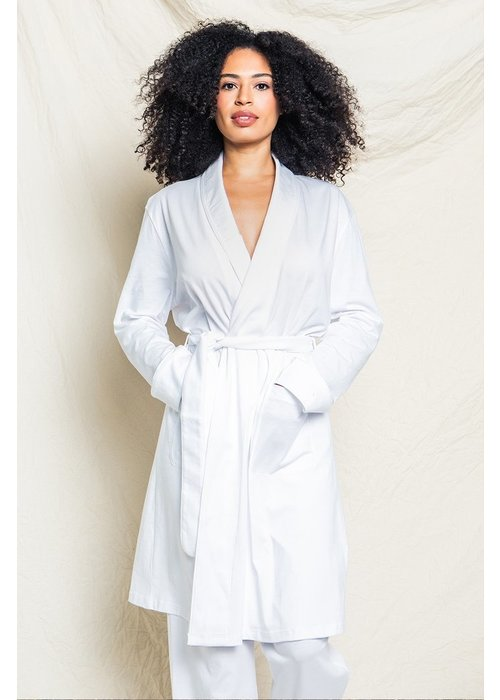Petite Plume Women's Luxe White Pima Cotton Robe