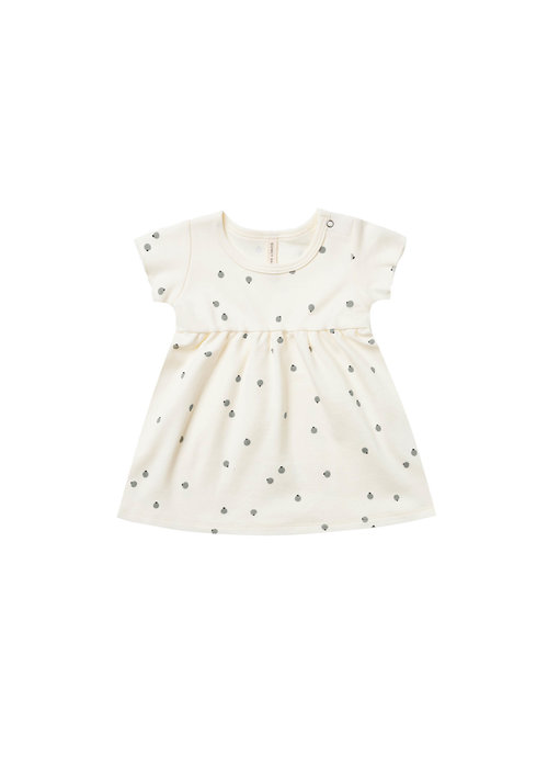 Quincy Mae QM Short Sleeve Baby Dress in Ivory/Blueberries