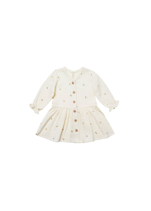 Quincy Mae QM Longsleeve Gauze Dress in Ivory/Tiny Flowers