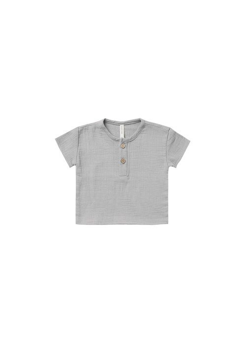 Quincy Mae QM Woven Henry Top Periwinkle