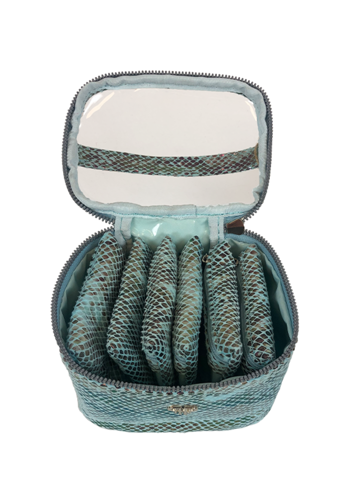 PurseN Getaway Jewelry Case Turquoise Python