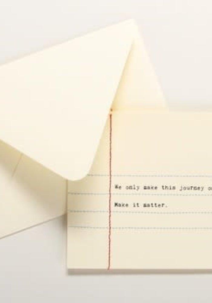 Hand Sewn Notecard Make it Matter