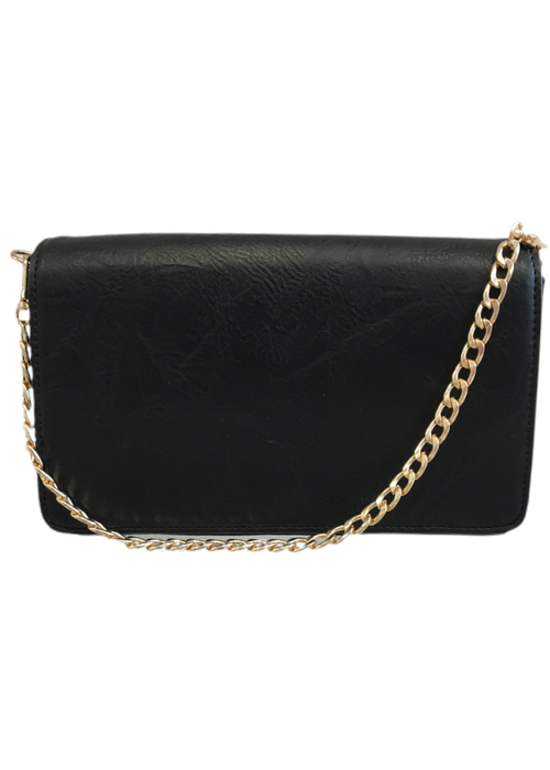 Ahdorned Large Vegan Leather Flap Bag w Chain