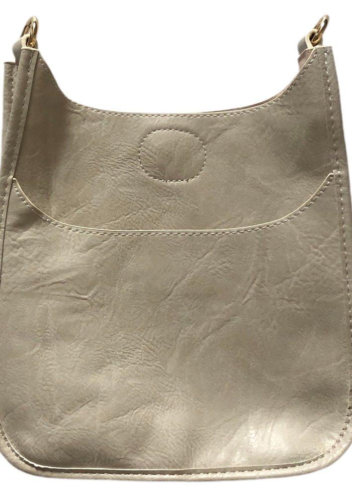 Ahdorned Cream Vegan Messenger Bag w Gold Hardware