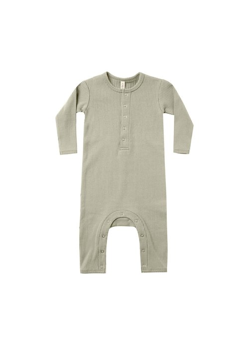 Quincy Mae QM Ribbed Baby Jumpsuit in Sage