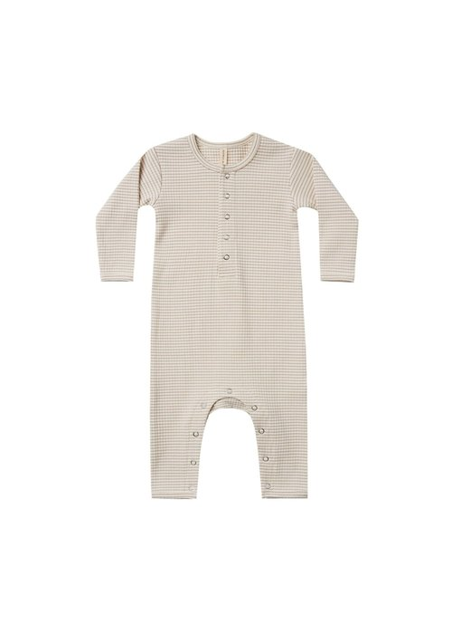 Quincy Mae QM Ribbed Baby Jumpsuit in Ash Stripe
