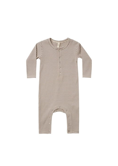 Quincy Mae QM Ribbed Baby Jumpsuit in Charcoal Stripe