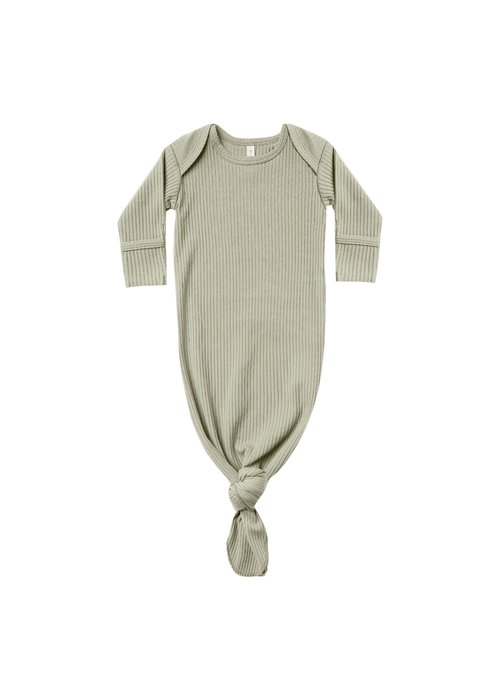 Quincy Mae QM Ribbed Knotted Baby Gown - One Size - Sage