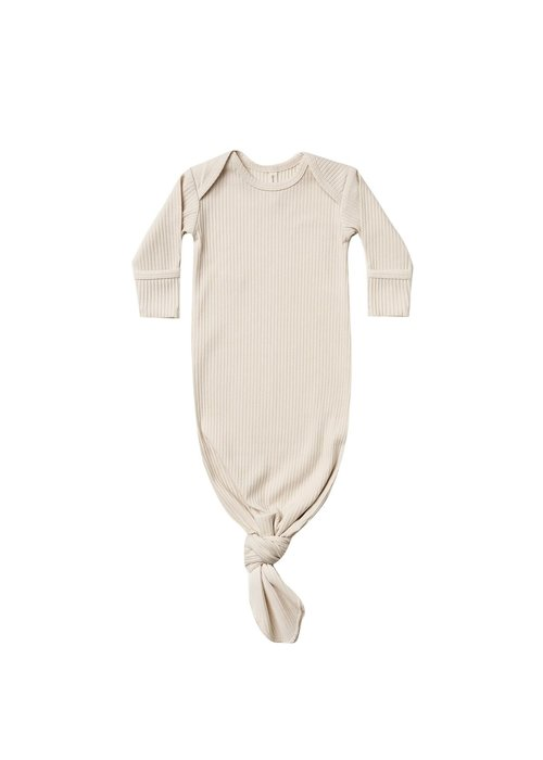 Quincy Mae QM Ribbed Knotted Baby Gown - One Size - Natural