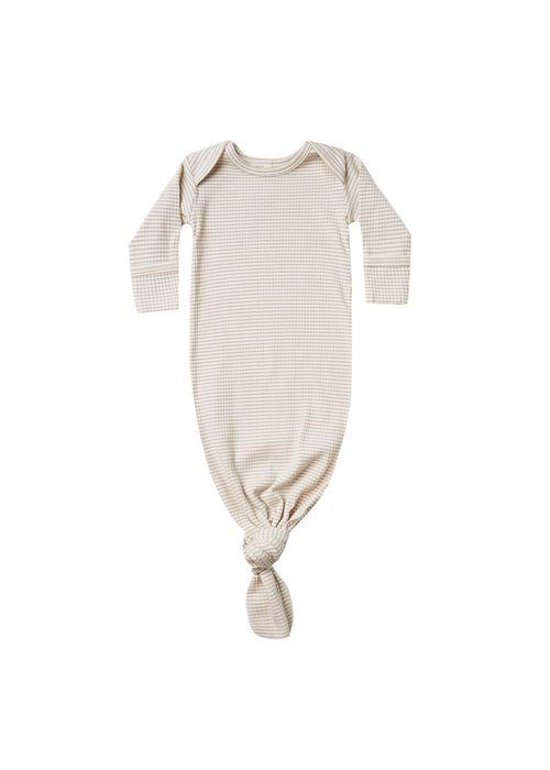 Quincy Mae QM Ribbed Knotted Baby Gown - One Size - Ash Stripe