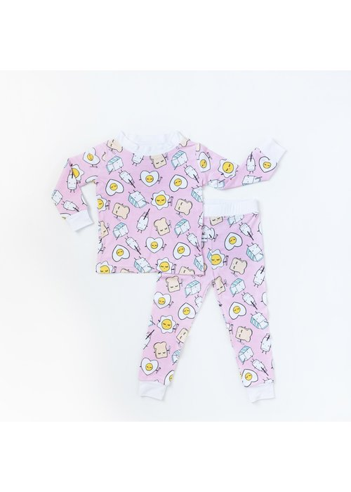 little sleepies LS Pink Breakfast Buddies 2-pc Bamboo PJ Set