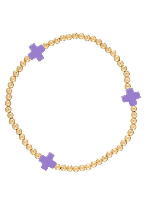 E Newton EG Signature Cross Bracelet Gold Purple