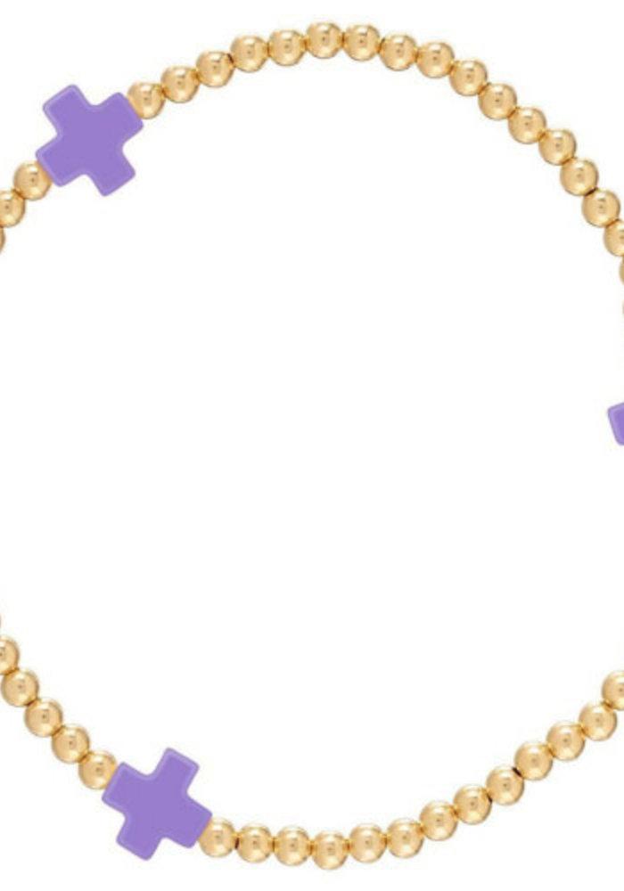 EG Signature Cross Bracelet Gold Purple
