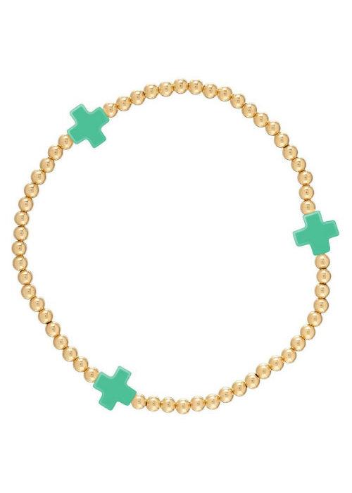 E Newton EG Signature Cross Bracelet Gold Emerald
