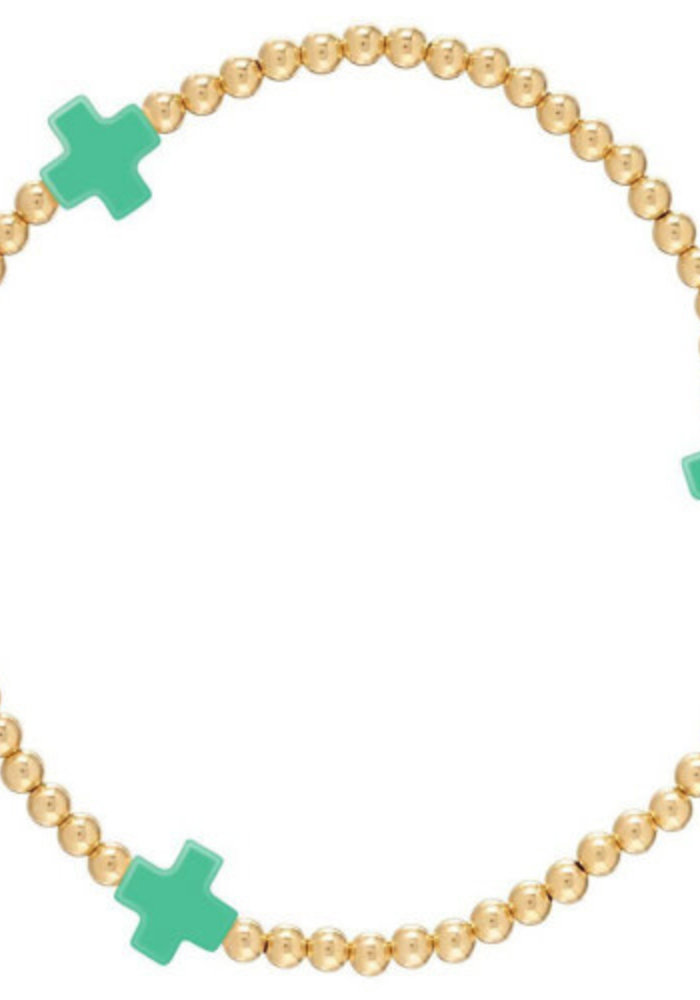 EG Signature Cross Bracelet Gold Emerald