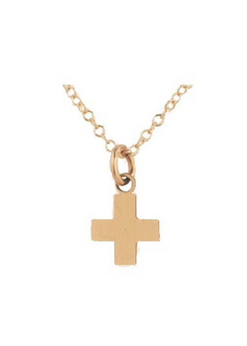 "E Newton EG Signature Cross Necklace Gold Charm 14"""