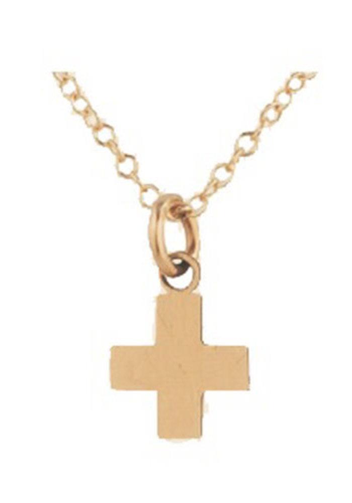 "EG Signature Cross Necklace Gold Charm 14"""
