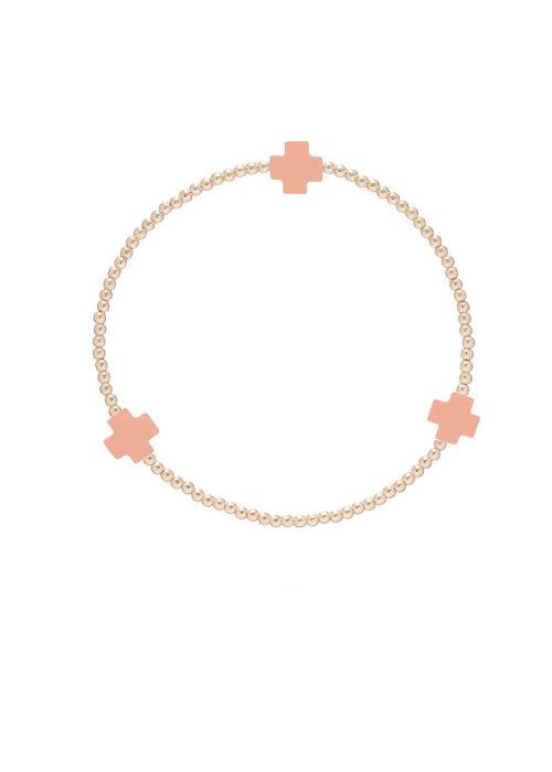 E Newton EN Signature Cross Gold Pattern 2mm Bracelet - Coral
